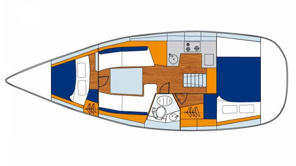 Floor plan of Sunsail 32i - 2 cabin