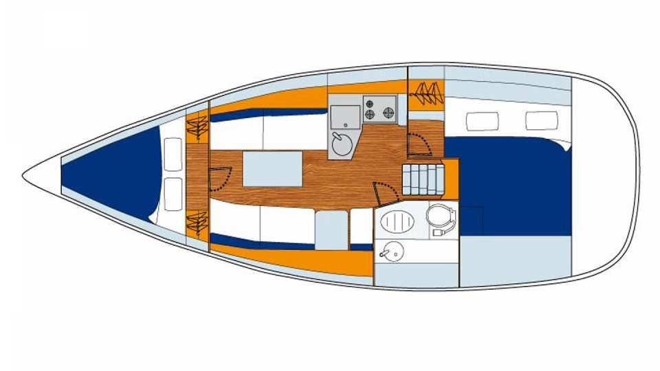 Floorplan of Sunsail 33i - 2 cabin